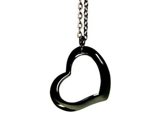 Black Heart Necklace, Heart Charm Necklace, Heart Pendant Necklace, Antique Black Necklace, Statement Necklace