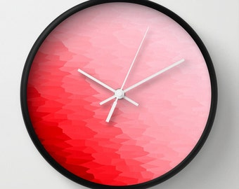 Clock, Red Clock, Red Wall Clock, Red Clock, Red Home Decor, Red Ombre Clock, Red & Pink Clock,  Kitchen Clock