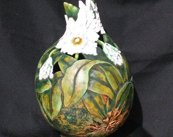 Hand Carved Decorative Gourd with Orchids