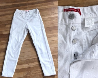 Vintage 80s 90s Gap Jeans HIGH WAISTED Button Fly White Eyelet Jeans |  1990s Gap Straight Skinny Tapered Cropped Denim MoM JEANS W 24