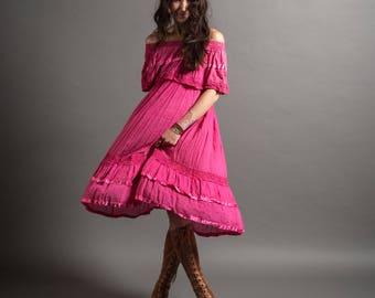 1970's Cotton Gauze Off the Shoulder Dress