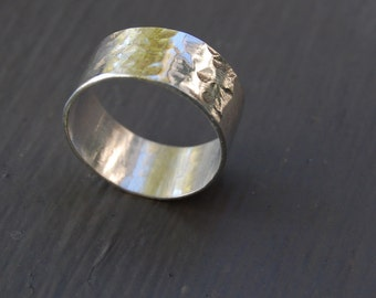 Hammered Sterling Silver Ring, Unisex, Comfortable, Customization Available