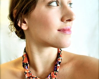 Bohemian Statement Necklace - Purple and Coral Flowers