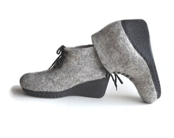 Grey handmade wool felt shoes with rubber soles-eco friendly