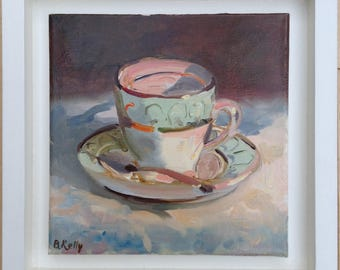 "Framed Oil Painting of an Antique Tea Cup and Saucer ""Time for Tea"" by Barbara Kelly"
