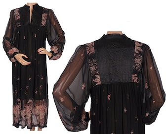 Vintage 1960s Sheer Chiffon Gauze Dress - Made In India