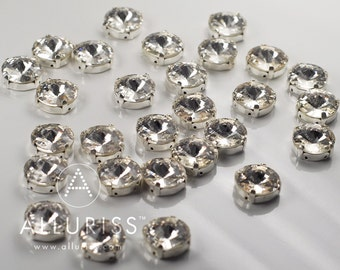 12mm Round, 28pcs Clear Crystal, Fancy Stone & Claw Setting