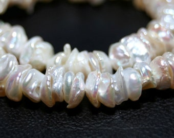 Keshi Freshwater Pearls Center Drilled 20 Pieces Bridal White Semi Precious Freshwater Pearls June birthstone