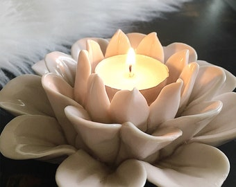 Lotus - Ceramic Candle Holder - Blush