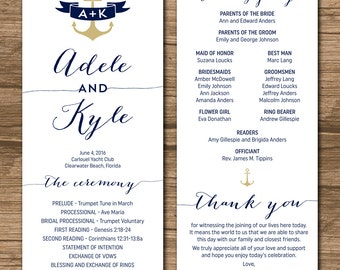Wedding program order of ceremony ceremony program order of nautical wedding program order of ceremony ceremony program order of service double junglespirit Choice Image