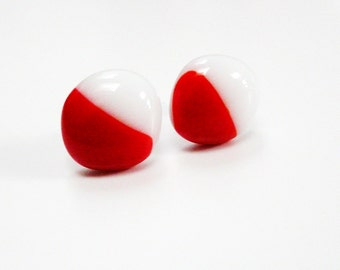 White Red Earstuds Christmas Red Earrings Fused Glass Earrings in White and Bright Red on a white base