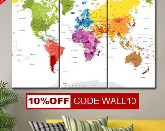 Large push pin map, Push Pin World Map, World Map, World map wall art, World Map Poster, World Map Push Pin, Wall Art Travel Map