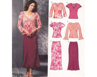 """Womens Bias Cut Skirt Pattern and V Neck Top with Sleeve Options Easy to Sew New Look 6294 Size 6 to 16 Bust 30.5 to 38"""" Mid Calf Midi Flare"""