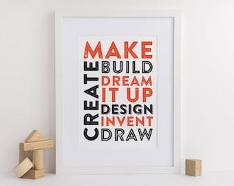 Make, Build, Create, Dream Kids Room Poster (DIGITAL FILE)