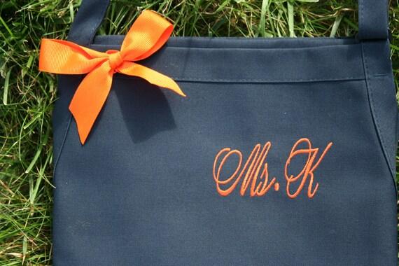 "3 pocket Navy Blue Berry apron + Pumpkin thread monogrammed apron (24""L x 28""W) Nail tech, cosmetologist, waitress, barista, uniform, work"