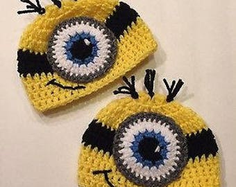 Minion Inspired Twin Baby Hats