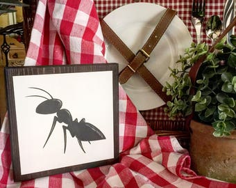 Rustic ANT silhouette sign Summer sign, picnic sign, backyard barbecue sign
