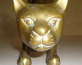 Large Solid Brass Cat Statue Door Stop Vintage Collectible Made in Korea Home Decor
