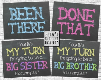 Set of 3 Printable Chalkboard Pregnancy Announcement Photo Props - Been There / Done That / Now It's My Turn / Baby Reveal / JPEG Files