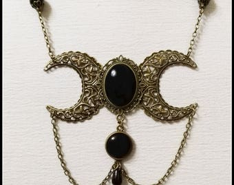 Triple moon necklace, triple goddess pendant, wiccan jewelry, witch necklace, witchcraft jewelry, victorian jewelry, victorian moon