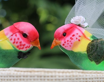 Rainbow Lorikeet Wedding Cake Topper in Pink, Green and Yellow: Bride & Groom Love Bird Cake Topper