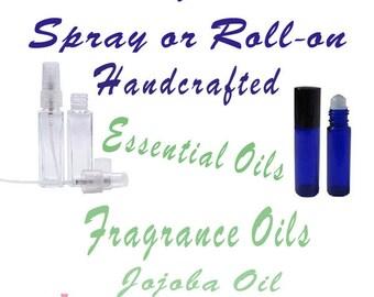 Spray Perfume, Roll-On Perfume, Essential Oils, Jojoba Oil, Phthalate Free 1 oz or 2 oz or 1/3 oz Roll-on Jasmine, Sandalwood, Rose, Vanilla