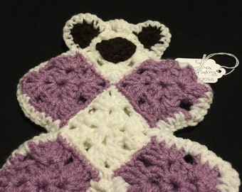 Baby's First Flat Comfort Teddy Bear Purple / White,Lovey,Bear Lovey,Crochet Flat Bear,Lovey Toy,Security Blanket,Crochet Bear Lovey,Cuddles