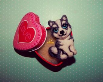 Husky Miniature custom pet portrait dog memorial Husky Needle felt dog brooch Pet loss gifts Felt Animals dog ornament