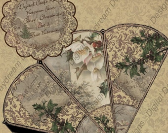 Instant Download Digital Printable Victorian Favor Cone Kit - Christmas Set 3, True Victoriana