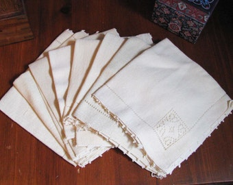 REDUCED Antique napkins with embroidered decoration