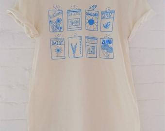 Flower T-Shirt, Garden Shirt, Screen Print Shirt, Soft Style Tee