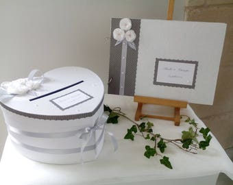 guest book + grey and white wedding urn