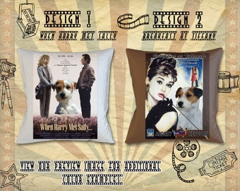 Parson Russell Terrier Pillow/Terrier Portrait/Terrier Art/Personalized Dog Pillow/Movie Poster/Breakfast at Tiffany/When Harry Met Sally