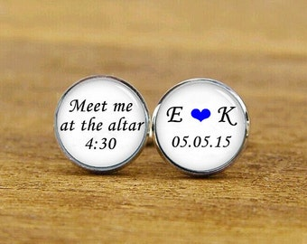 meet me at the altar cufflinks, custom initial cufflinks, custom name date, custom wedding cufflink, round, square cufflinks, tie clips, set