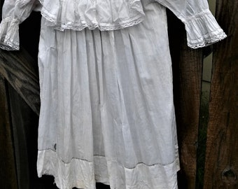 antique 1900's Victorian baby dress christening nightgown white lace ruffles long