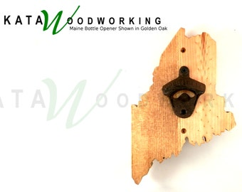 Maine Wood Cut-out Bottle Opener - Wall Mount - Handmade!