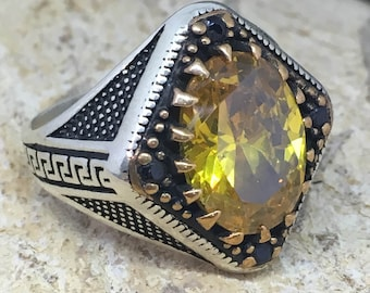handmade sterling silver mens ring golden topaz stone mens jewelry