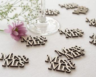 Wedding table confetti. Rustic boho wooden scatter 'Mrs & Mrs' cut out text. Gay lesbian wedding Civil Partnership LGBT L73