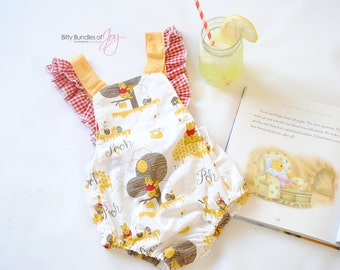 Winnie the Pooh Vintage Style Romper Sunsuit with Ruffle Straps and Bow on the Back