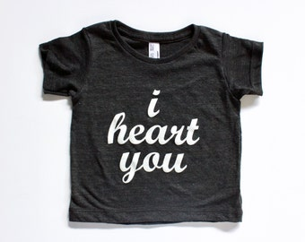 I HEART YOU, clothing, tops, baby, kids, toddler, handprinted tee, i love you, gray and white, t-shirt, baby gift, unique gifts for kids