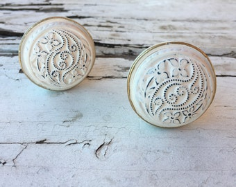 Drawer Knob, Farmhouse White Washed Knobs, French Country Look Cabinet Pulls, Item #491792650
