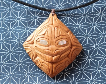 lozenge frog amulet - necklace - pendant - first nations
