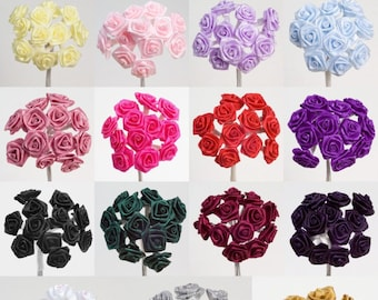 Miniature Ribbon Roses - Flowers - Bunch of 12 - Cards, Favours, Crafts, Embellishment