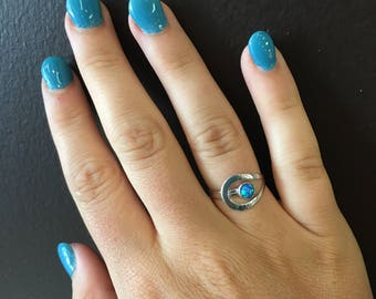 Floating Blue Fire Opal Ring
