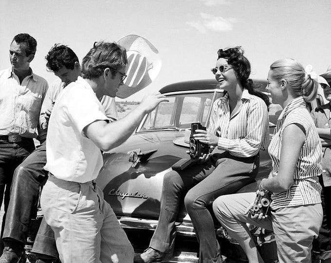 "Rock Hudson, James Dean and Elizabeth Taylor on the Set of the Film ""Giant"" - 5X7 or 8X10 Photo (OP-291)"
