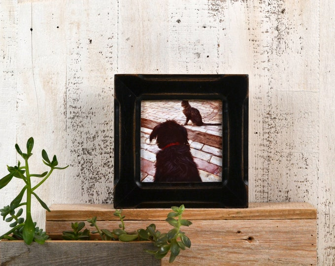 """5x5"""" Picture Frame in Wide Bones Style  with Super Vintage Black Finish - IN STOCK - Same Day Shipping - 5 x 5 Gift Frame"""