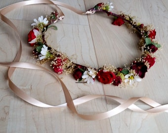 Burgundy Wine Flower crown gift for her hair wreath seasonal or special occasion Vineyard marsala dried silk floral circlet halo