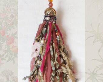 Boho Gypsy Tassel,  Pinks and Green, Handmade Ornament Home Decor, Beaded Fiber Art Tassel from Salvaged Fabrics