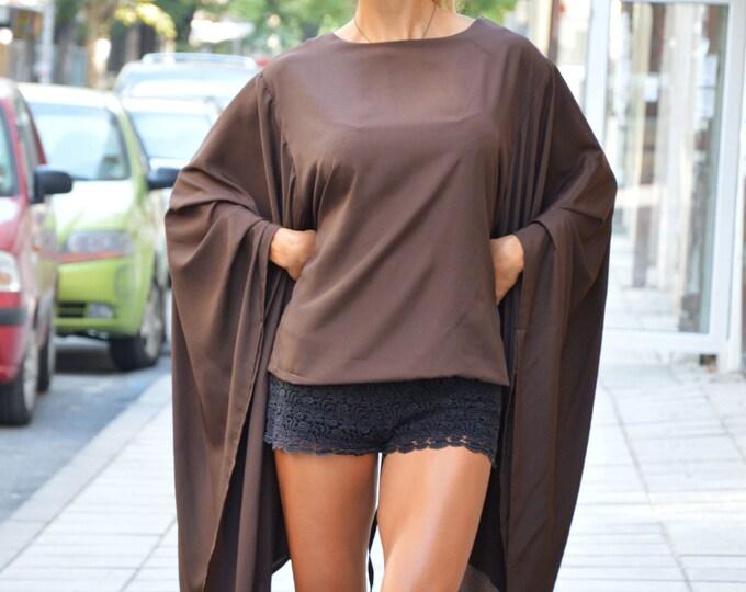 Women's Extravagant Zipper Shirt, Maxi Shirt, Asymmetric Shirt, Fashion Shirt, Loose Sleeves Top, Plus Size Brown Shirt by SSDfashion