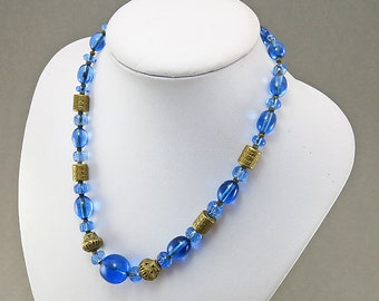 Vintage Glass Beaded Necklace Statement Necklace Blue Glass Beads Vintage Jewellery